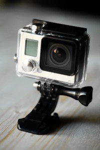 Close up color shot of a small action camera